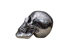Metal chrome skull. Isolated on white background stock image