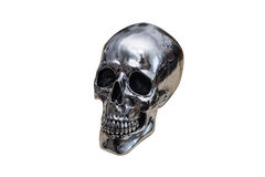 Metal chrome skull. Isolated on white background royalty free stock image