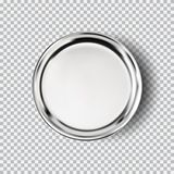 Metal chrome steel plate on transparent background. Kitchen dishes for food, plate for kitchen, dishware. Button vector illustration for your product, food ads stock illustration