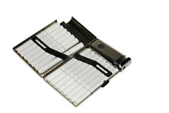 Metal cigarette box. Old metal cigarette box with lighter Stock Photography