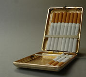 Metal cigarette box. Old metal cigarette box Royalty Free Stock Images