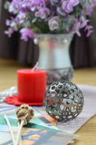 Metal circle decorative hollow ball. Home decoration hollow ball metal Royalty Free Stock Photo