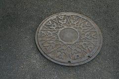 Free Metal Circle Of Drain Water On Pavement Royalty Free Stock Photos - 52100018