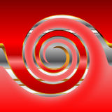 Metal circle on red. Red background with metal abstract circle Stock Photography