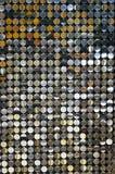 Metal circles. Panel made of metal circle sheets Stock Photo