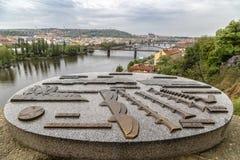 Metal circuit bridges and buildings of Prague Royalty Free Stock Photo
