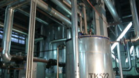 Metal Circular Tanks in Manufacturing. Of Vegetable Oils. The Shop Inside stock video