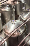 Metal cisterns. Glossy and clean surface of steel. Royalty Free Stock Images