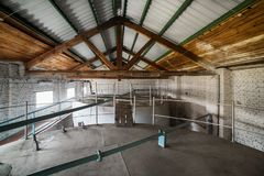 Metal cisterns installed inside the building. Royalty Free Stock Images