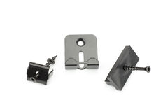 Metal clamps for mounting composite decking board Royalty Free Stock Photo