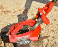 Metal clasp and fastener. In the concrete stock image