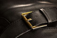 Metal Clasp on Leather Case Stock Image