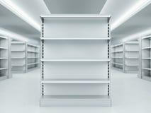 Metal clean shelves in market. 3d rendering Royalty Free Stock Image