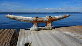 Metal cleat on pier Stock Image