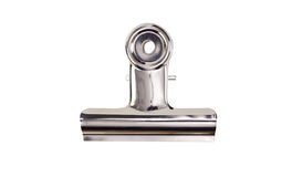 Metal clip. Metal bulldog clip isolate on white Stock Images