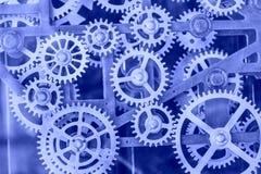 Metal clock gears. Close shot stock image