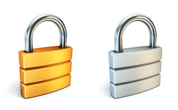 Metal closed lock. Metall closed lock isolated 3d rendering Royalty Free Stock Image