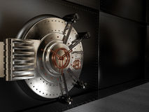 Metal closed the safe door, 3D illustration Royalty Free Stock Images
