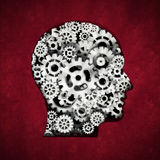 Metal cogs forming head shape. 3D illustration Royalty Free Stock Photography
