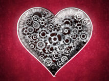 Metal cogs forming heart shape. 3D illustration.  Royalty Free Stock Image