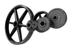 Metal cogs and wheels connecting Royalty Free Stock Photo
