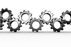 Metal cogs and wheels connecting Stock Photo
