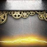 Metal предпосылка с шестернями cogwheel и электрической молнией Стоковые Фотографии RF