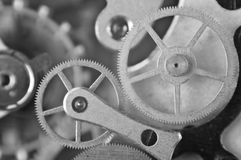 Metal Cogwheels, Black and white Macro Photo. Stock Images