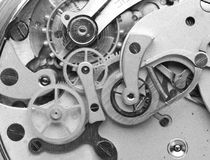 Metal Cogwheels Clockwork Black and white Macro Photo. Stock Photos