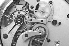 Metal Cogwheels Clockwork Black and white Macro Photo. Royalty Free Stock Images