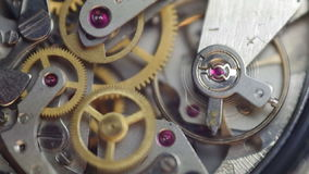 Metal cogwheels inside clockwork. Concept Eternity, Teamwork. Tick-Tick Sound stock video