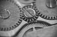 Metal cogwheels inside clockwork macro Royalty Free Stock Photos