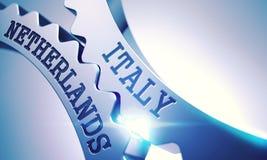 Italy Netherlands - Mechanism of Shiny Metal Gears. 3D. vector illustration