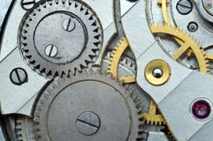 Metal Cogwheels in Old Clockwork, Macro. Royalty Free Stock Photography