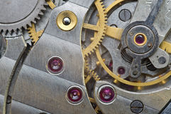 Metal Cogwheels in Old Clockwork, Macro. Stock Image