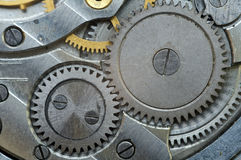 Metal Cogwheels in Old Clockwork, Macro. Stock Image