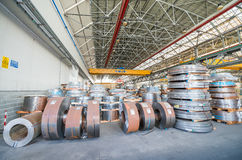 Metal coils in industrial warehouse Royalty Free Stock Photo