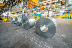 Metal coils in industrial warehouse Royalty Free Stock Image