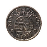 Metal coins 5 Escudo (Portuguese overseas province of Mozambique Stock Images