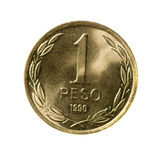 Metal coins one peso of Chile  isolated on white background Royalty Free Stock Image