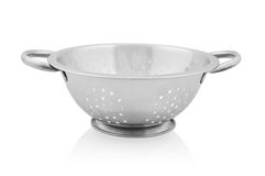 Metal colander. On white background. Clipping path included Stock Photos