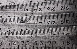 Metal collapsible meter. Old metal collapsible meter with numbers and a scale Stock Image