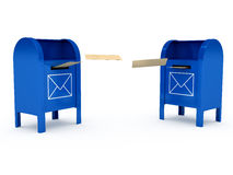 Metal color mailbox over white background Stock Photography