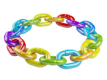 Metal colored chain circle. teamwork concept Royalty Free Stock Photos