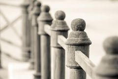 Metal columns of beige color for a protection Royalty Free Stock Image