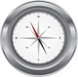 Metal compass. Metal shiny compass isolated on a white background royalty free illustration