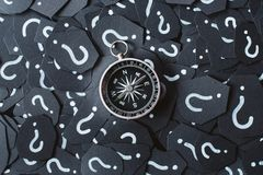 Metal compass on question mark background. Concept of travel, navigation, explore and where to go stock photo
