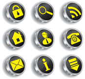 Metal computer web icon set Royalty Free Stock Photo