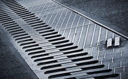 Metal connection between bridge segments. Closeup photo of metal connection between bridge segments Stock Images