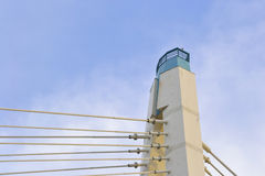 Metal construction. Cable-stayed bridge on sky background Royalty Free Stock Photos